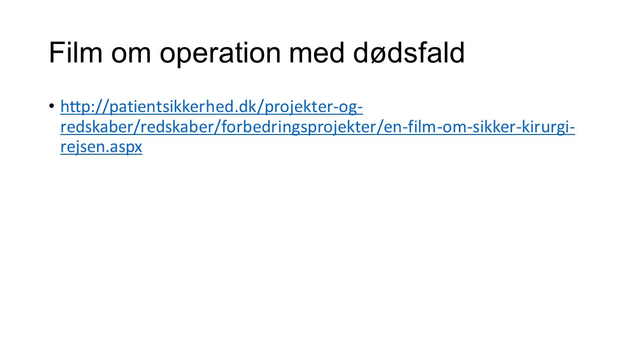 Film om operation med dødsfald