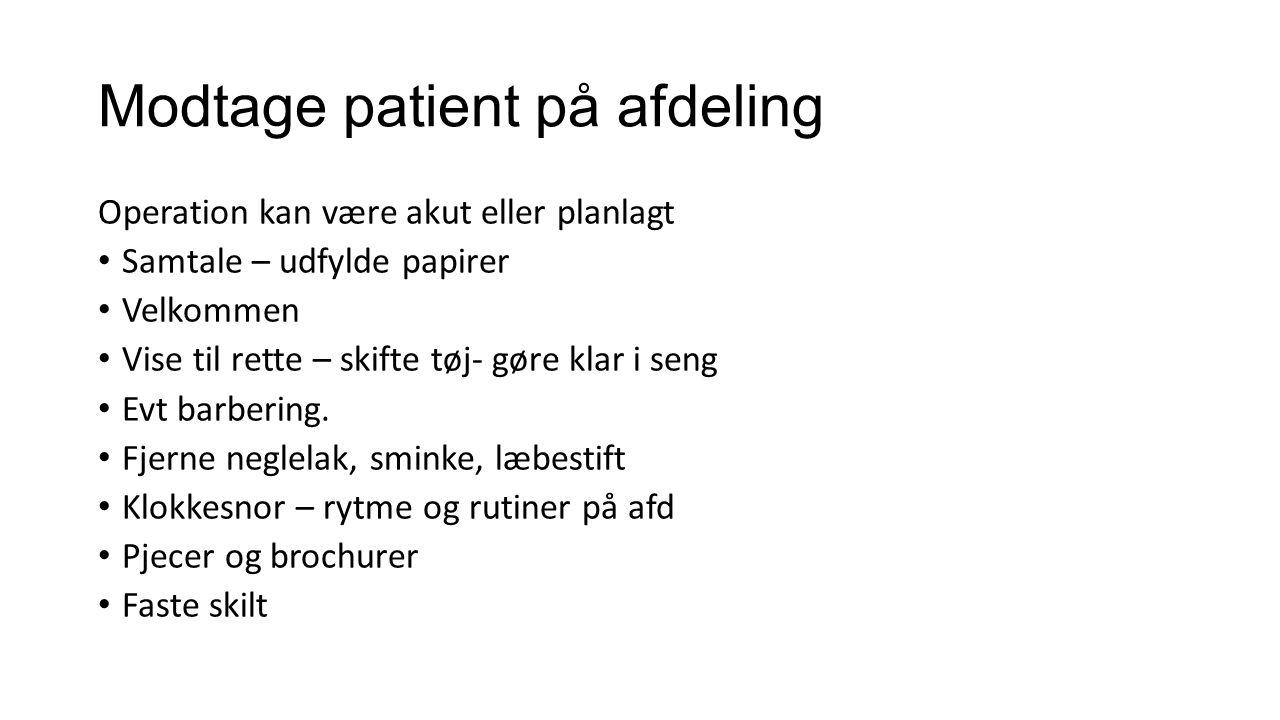 Modtage patient på afdeling