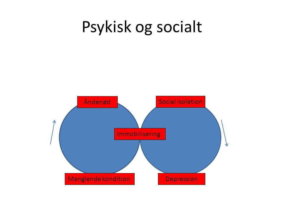 Psykisk og socialt Åndenød Social isolation Immobilisering