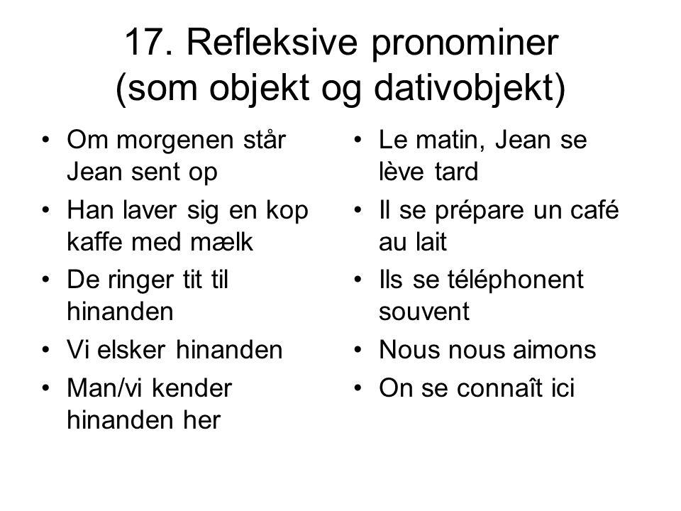 17. Refleksive pronominer (som objekt og dativobjekt)
