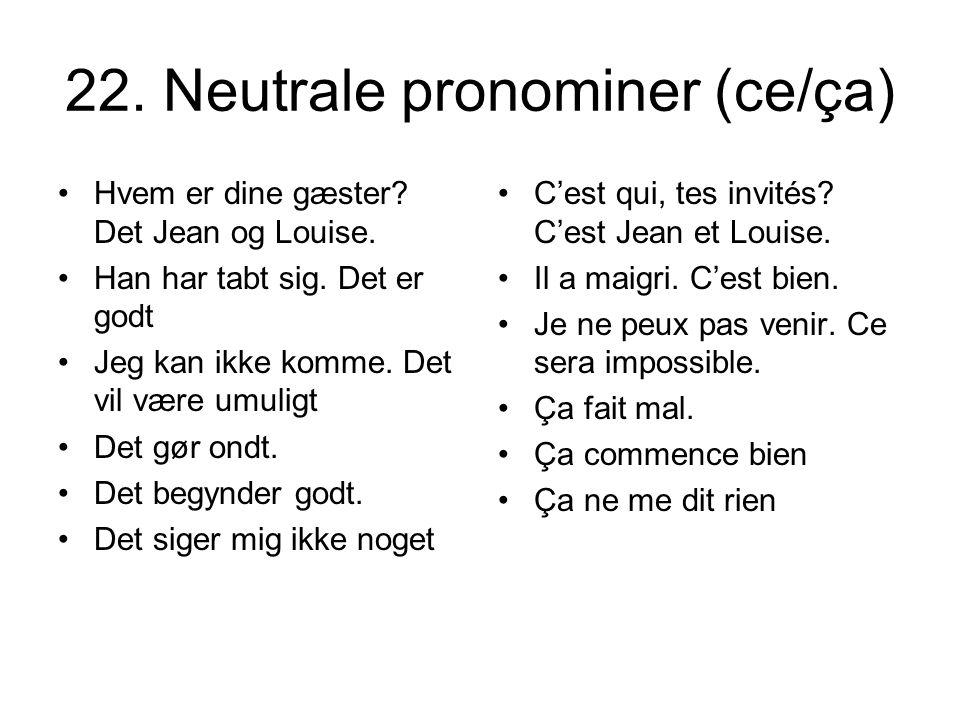 22. Neutrale pronominer (ce/ça)