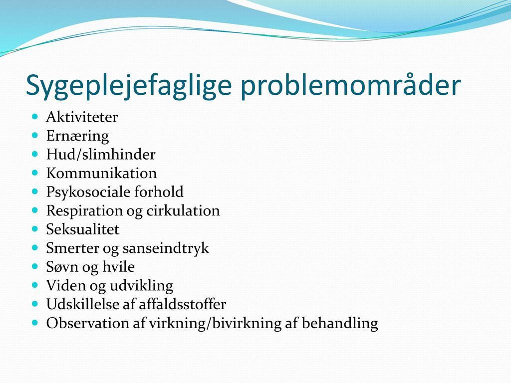 Sygeplejefaglige problemområder