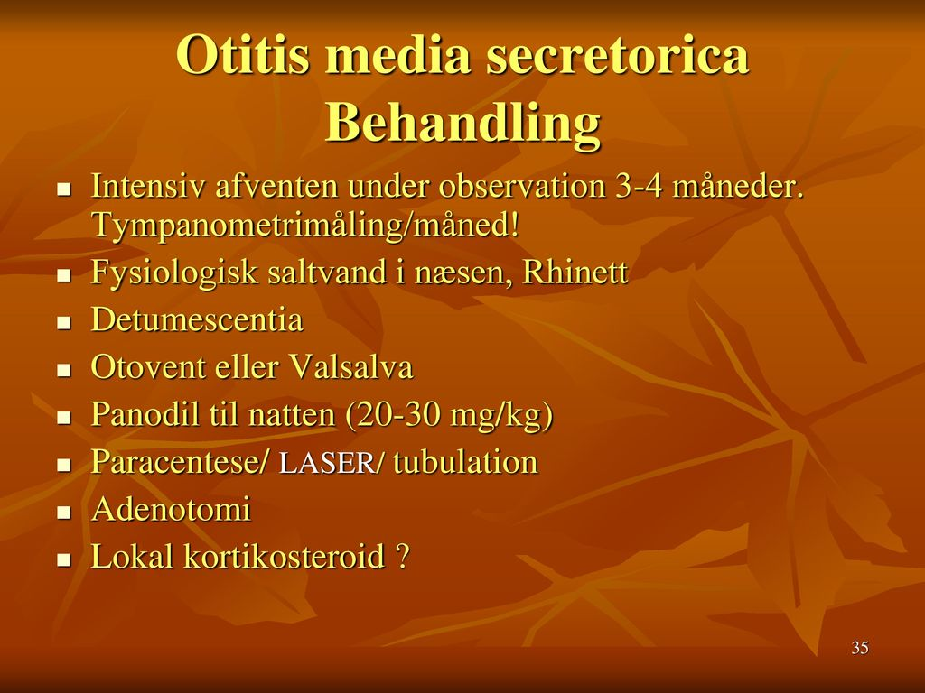 Otitis media secretorica Behandling