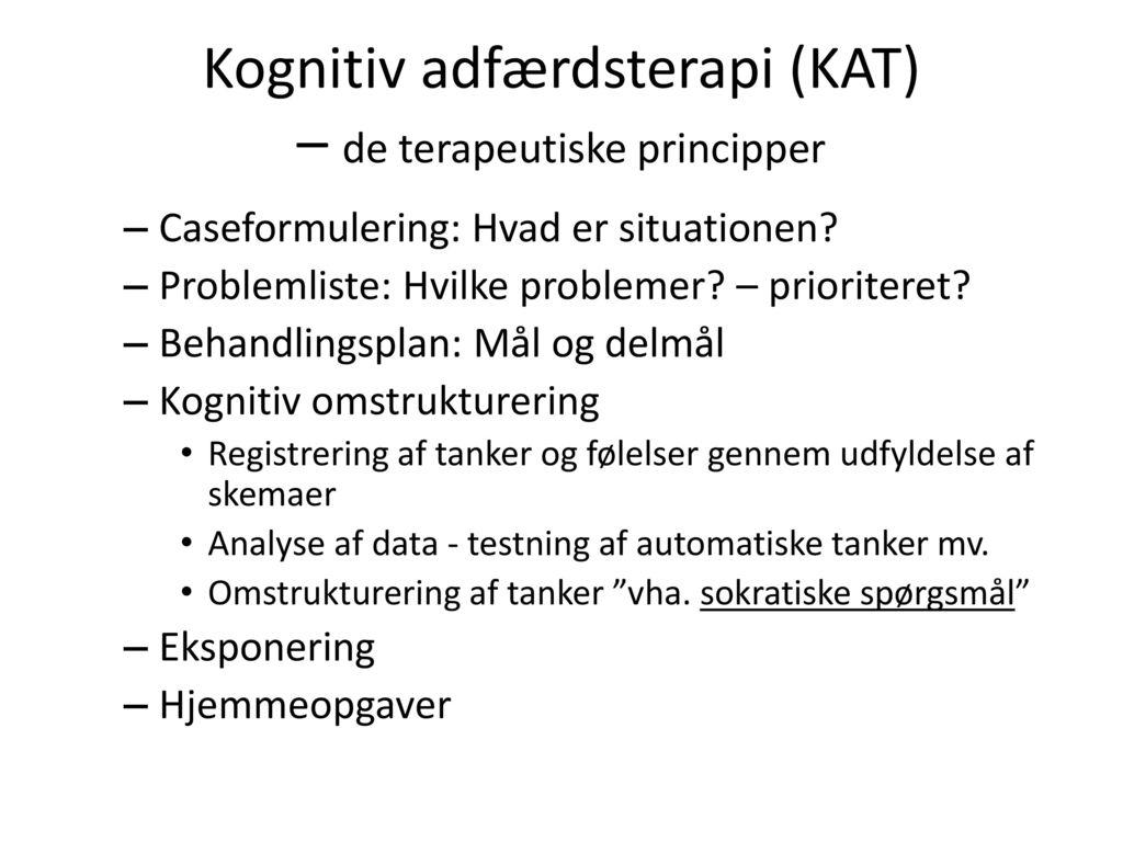 Kognitiv adfærdsterapi (KAT) – de terapeutiske principper