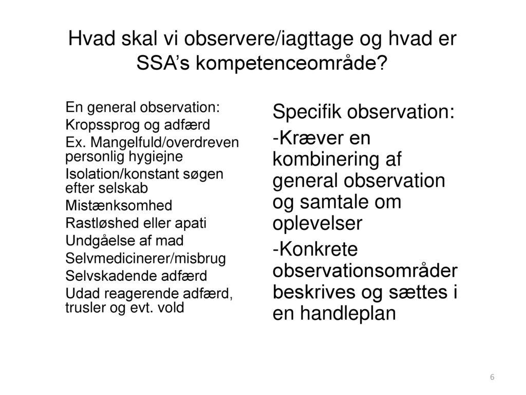 Hvad skal vi observere/iagttage og hvad er SSA's kompetenceområde