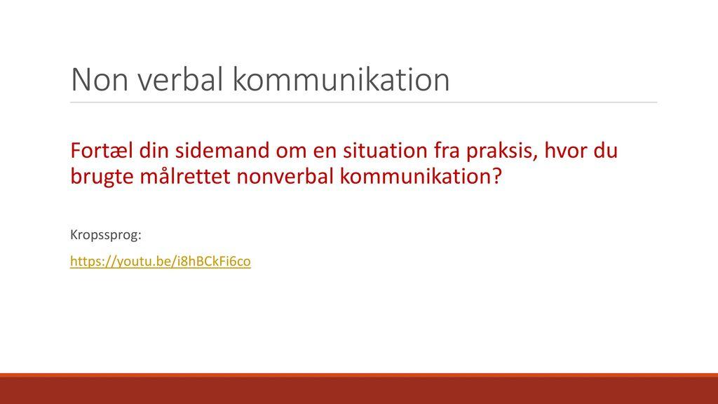 Non verbal kommunikation