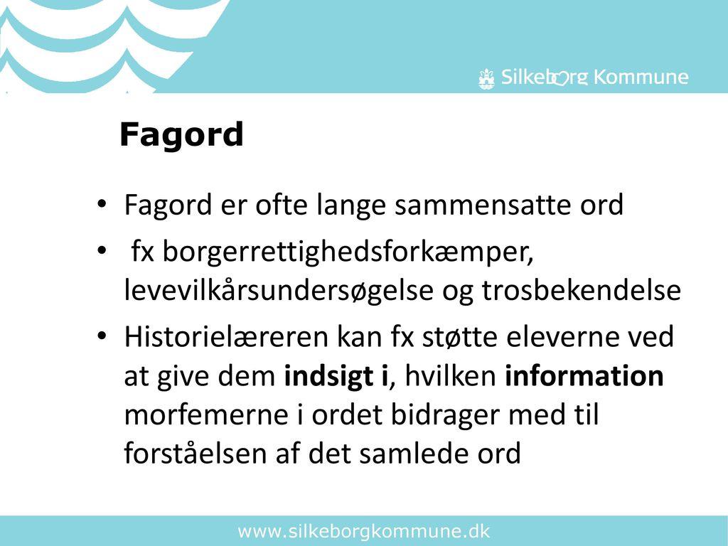 Fagord Fagord er ofte lange sammensatte ord. fx borgerrettighedsforkæmper, levevilkårsundersøgelse og trosbekendelse.
