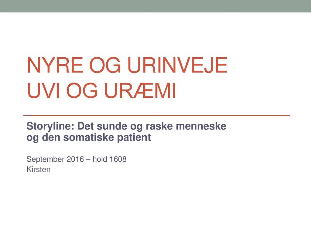 Nyre og urinveje UVI og uræmi