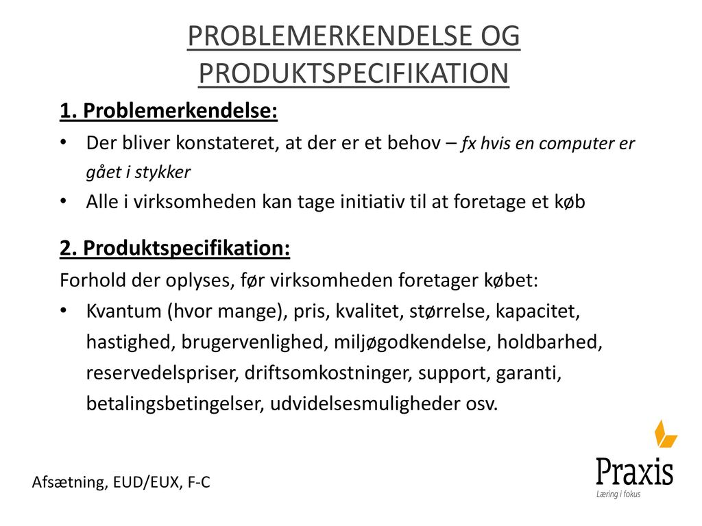 Problemerkendelse og produktspecifikation