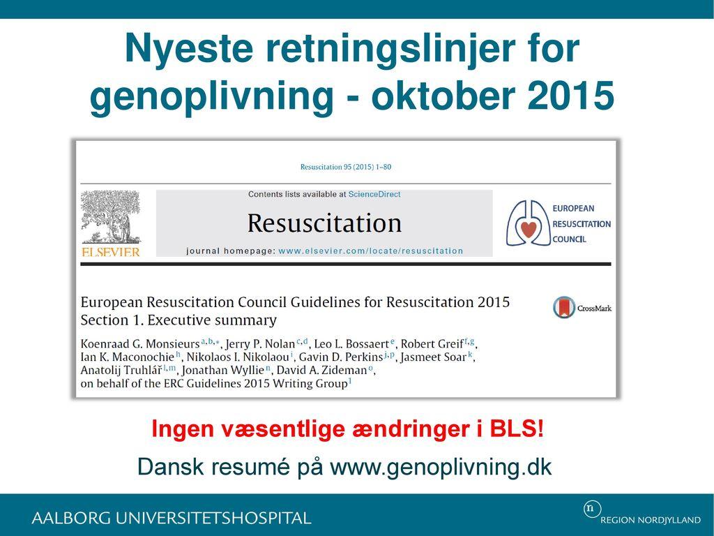 Nyeste retningslinjer for genoplivning - oktober 2015