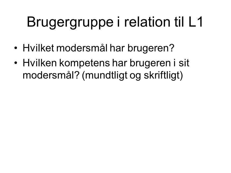 Brugergruppe i relation til L1