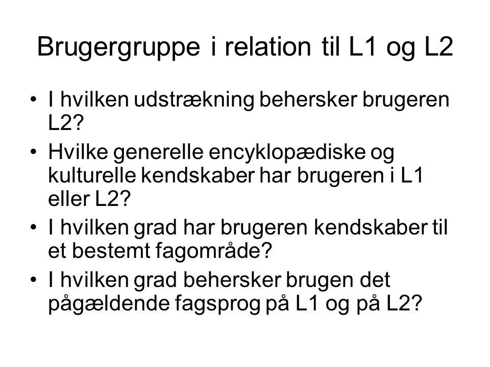 Brugergruppe i relation til L1 og L2