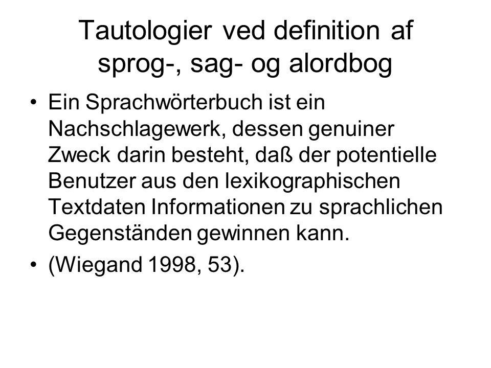 Tautologier ved definition af sprog-, sag- og alordbog