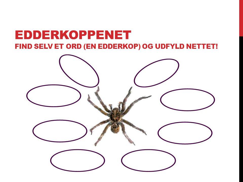 Edderkoppenet Find selv et ord (en edderkop) og udfyld nettet!