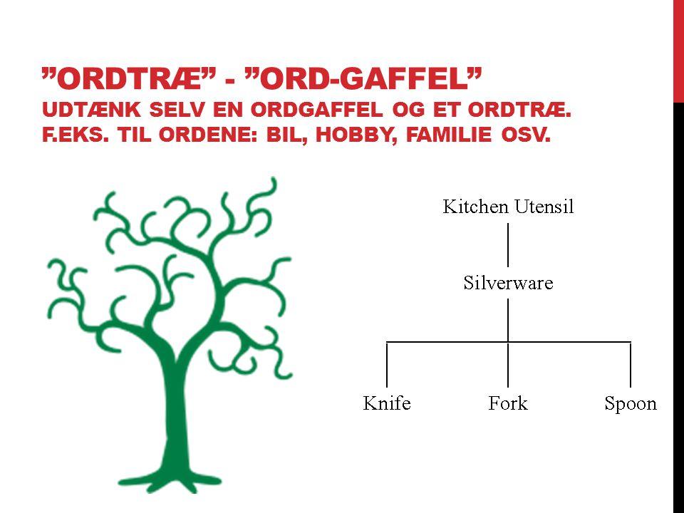 Ordtræ - Ord-gaffel Udtænk selv en ordgaffel og et ordtræ. F. eks