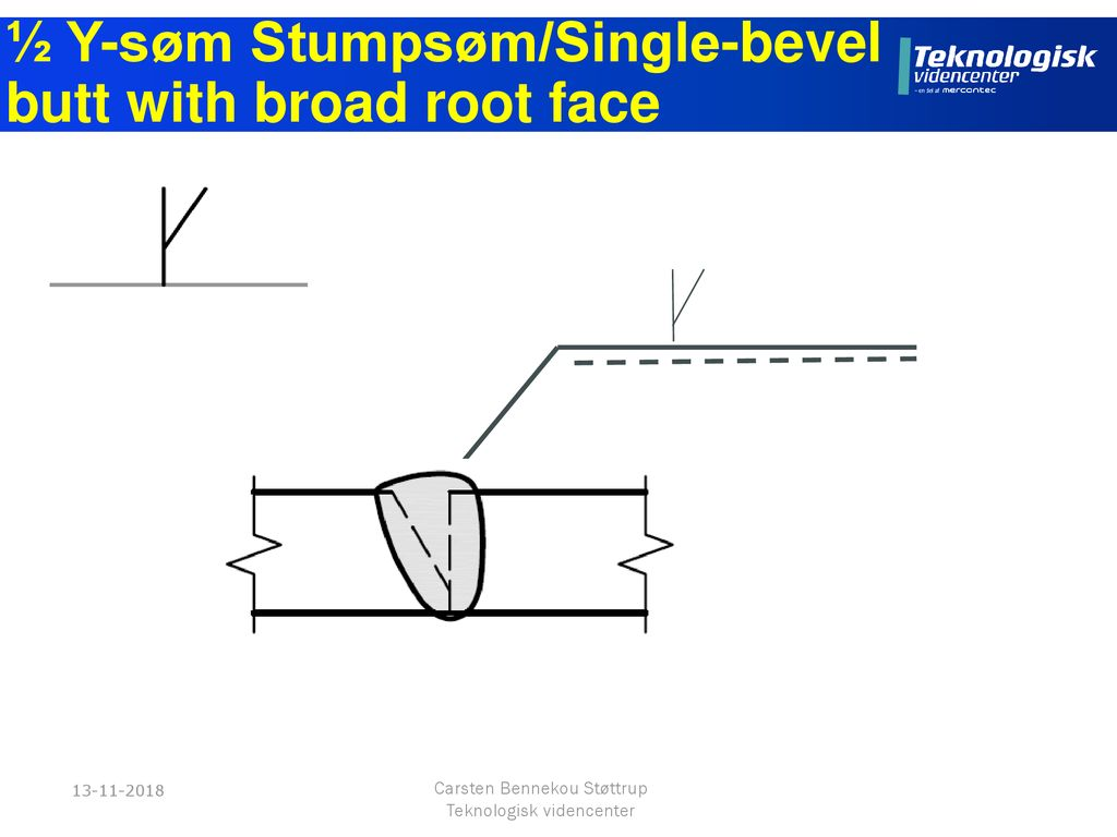 ½ Y-søm Stumpsøm/Single-bevel butt with broad root face