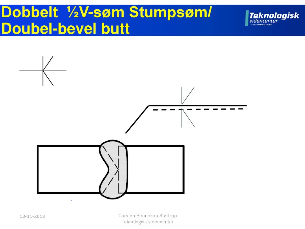 Dobbelt ½V-søm Stumpsøm/ Doubel-bevel butt