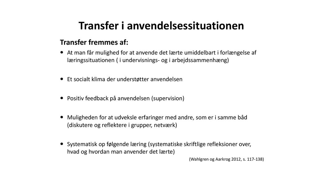 Transfer i anvendelsessituationen