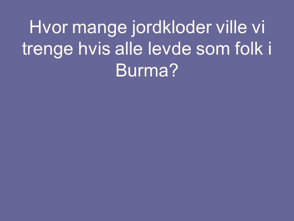 Hvor mange jordkloder ville vi trenge hvis alle levde som folk i Burma