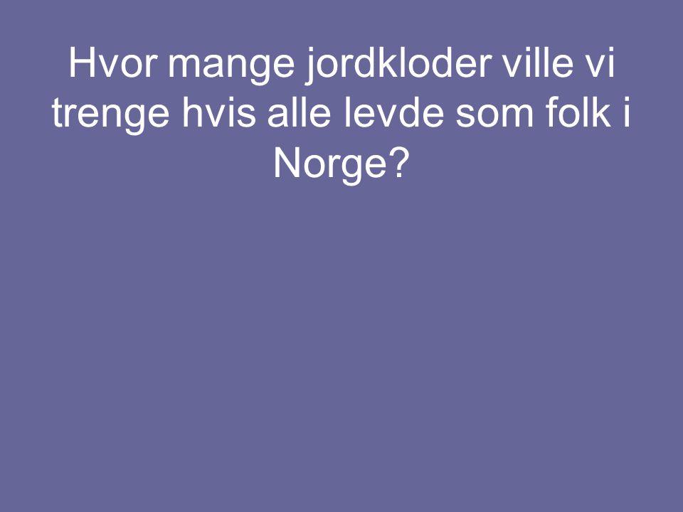 Hvor mange jordkloder ville vi trenge hvis alle levde som folk i Norge