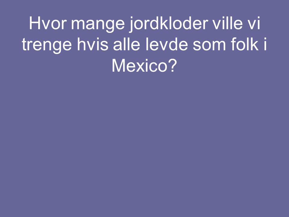 Hvor mange jordkloder ville vi trenge hvis alle levde som folk i Mexico