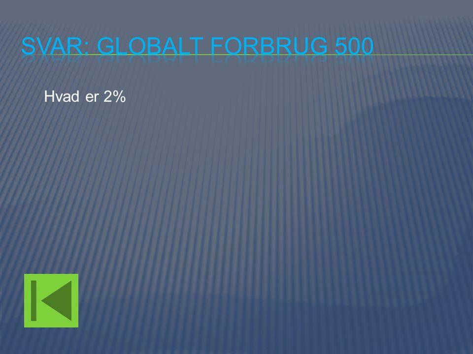 Svar: Globalt forbrug 500 Hvad er 2%