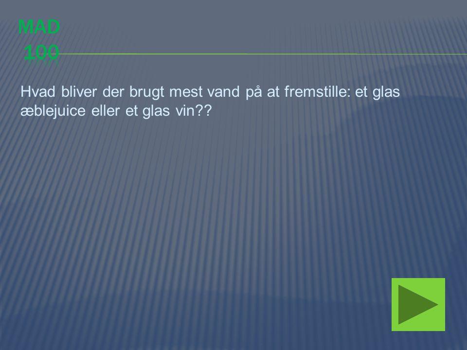 mad 100 Hvad bliver der brugt mest vand på at fremstille: et glas æblejuice eller et glas vin