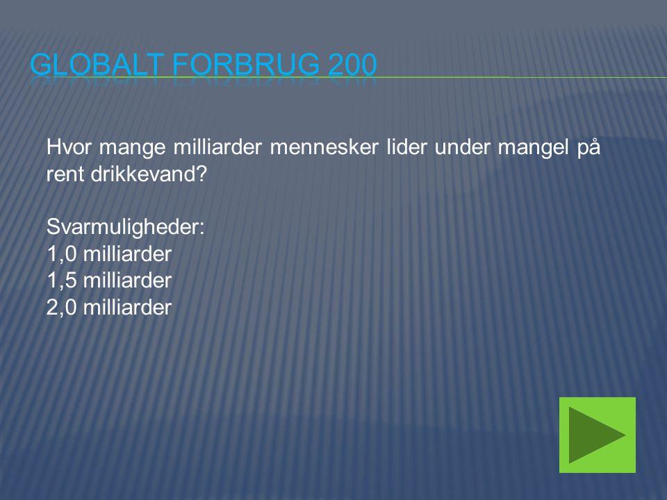Globalt forbrug 200 Hvor mange milliarder mennesker lider under mangel på rent drikkevand Svarmuligheder: