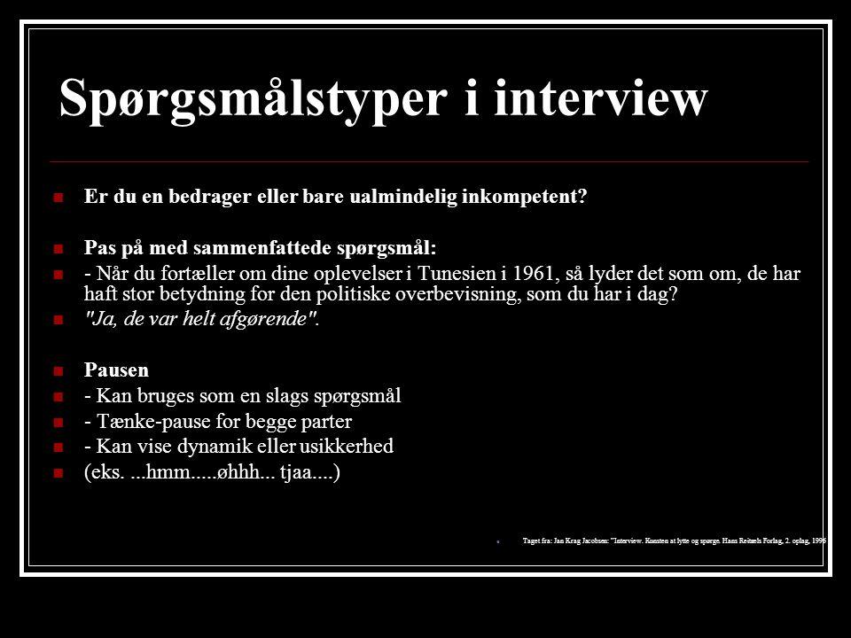 Spørgsmålstyper i interview
