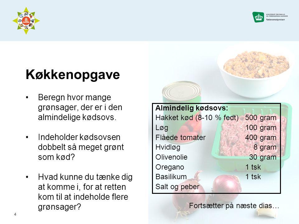 Køkkenopgave Beregn hvor mange grønsager, der er i den almindelige kødsovs. Indeholder kødsovsen dobbelt så meget grønt som kød