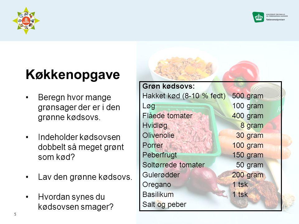 Køkkenopgave Beregn hvor mange grønsager der er i den grønne kødsovs.