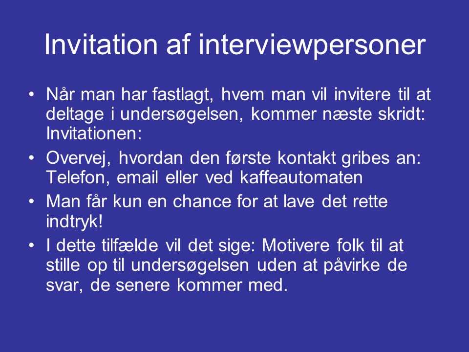 Invitation af interviewpersoner