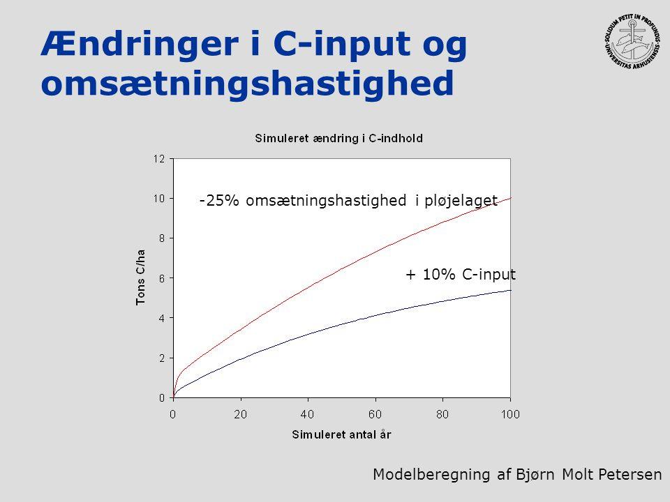 Ændringer i C-input og omsætningshastighed