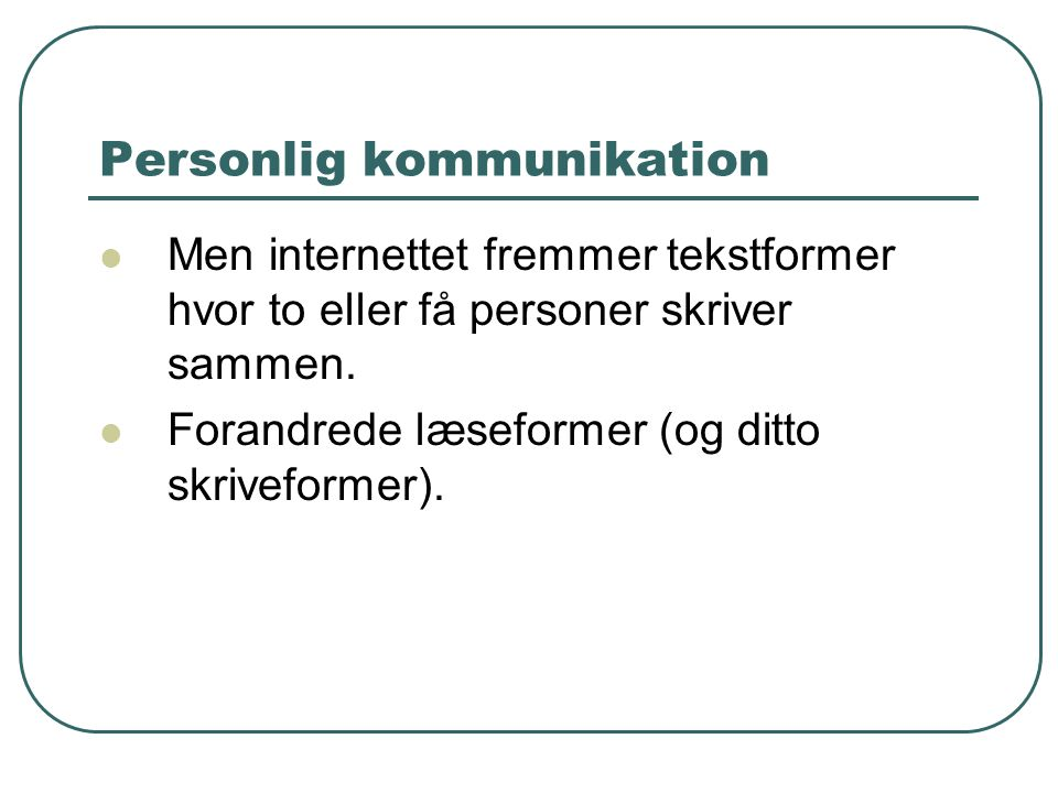 Personlig kommunikation