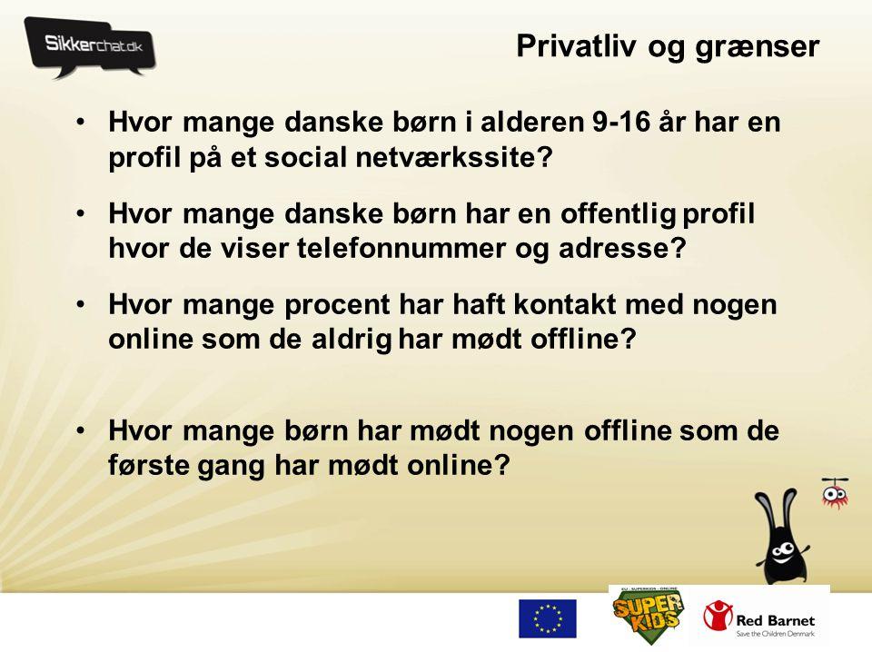 Privatliv og grænser Hvor mange danske børn i alderen 9-16 år har en profil på et social netværkssite
