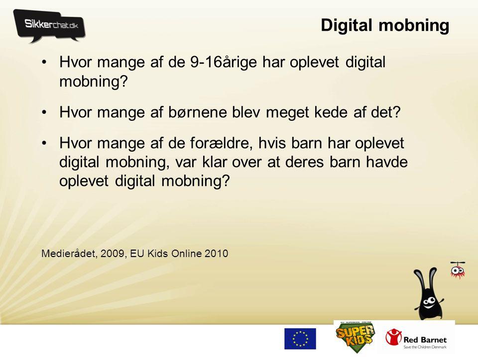 Digital mobning Hvor mange af de 9-16årige har oplevet digital mobning Hvor mange af børnene blev meget kede af det