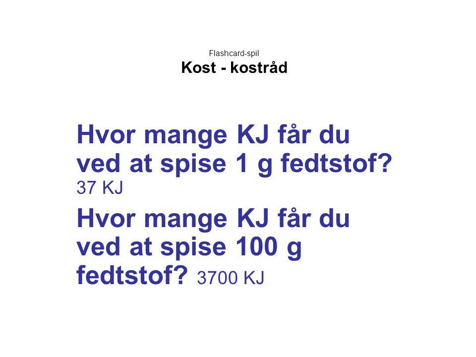 Flashcard-spil Kost - kostråd