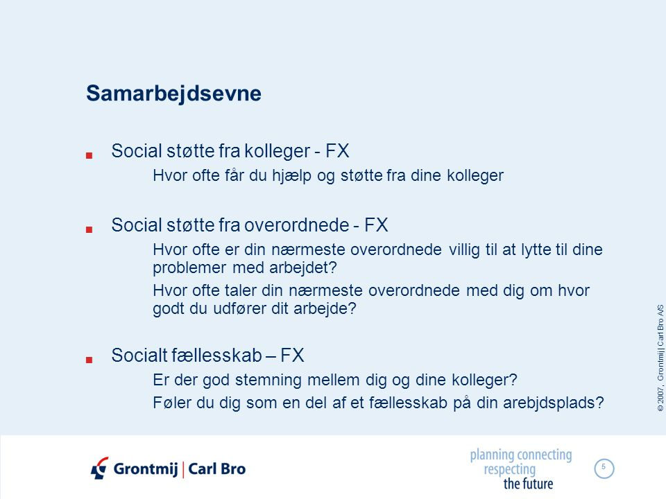 Samarbejdsevne Social støtte fra kolleger - FX