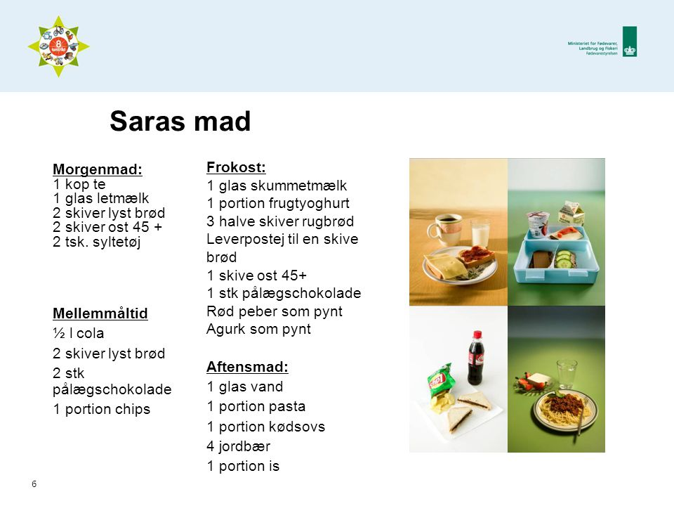 Saras mad Morgenmad: Frokost: 1 kop te 1 glas skummetmælk