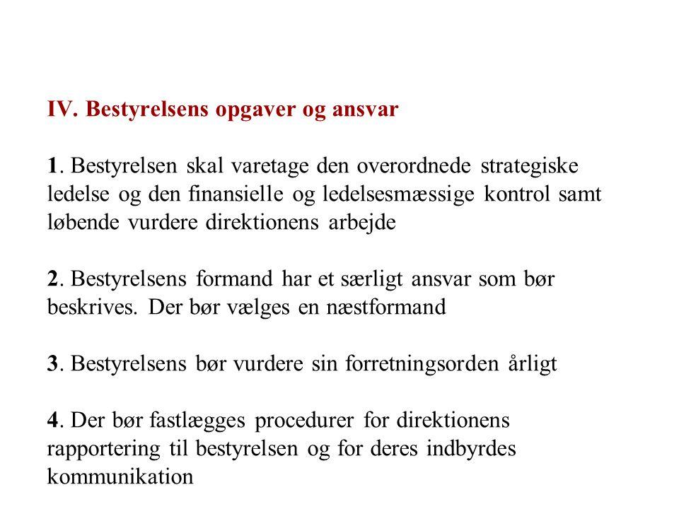 IV. Bestyrelsens opgaver og ansvar 1