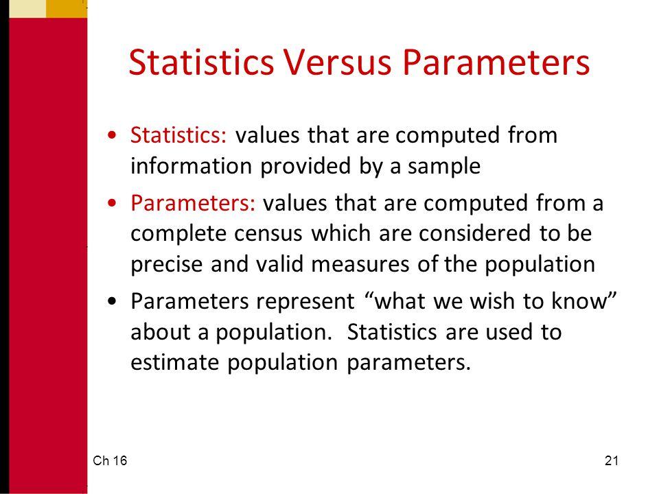 Statistics Versus Parameters