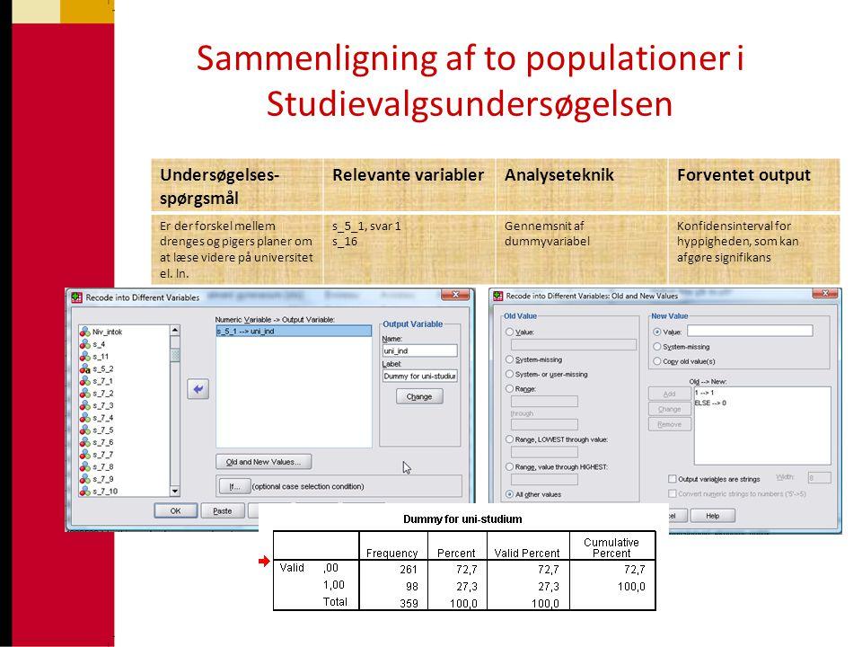 Sammenligning af to populationer i Studievalgsundersøgelsen