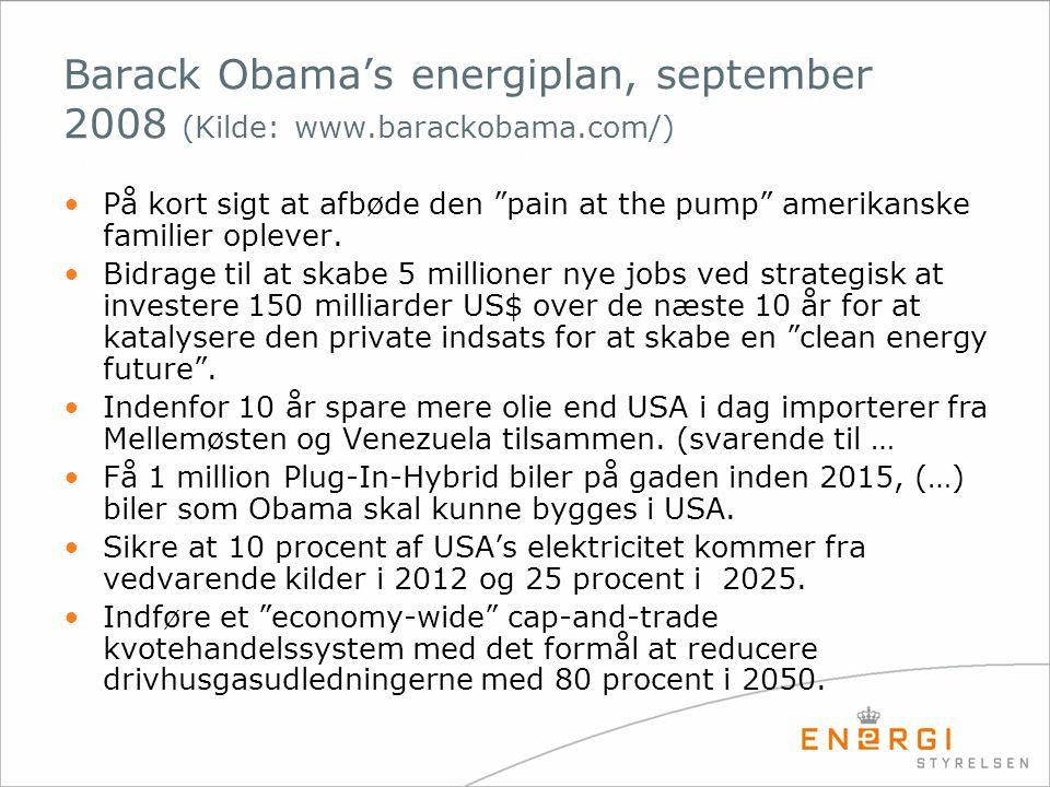 Barack Obama's energiplan, september 2008 (Kilde: www. barackobama
