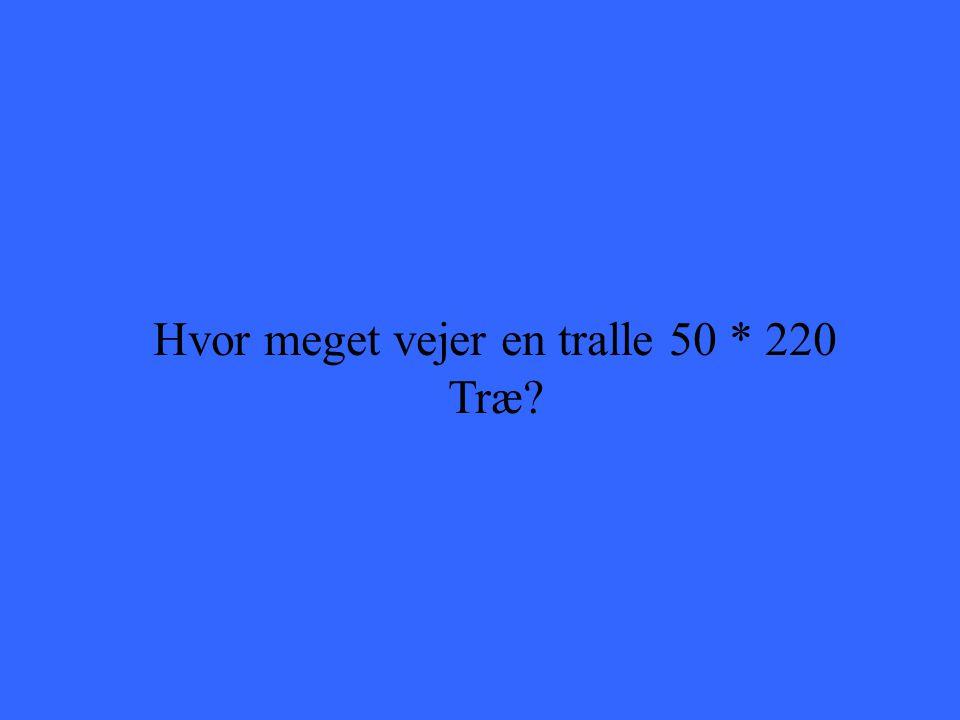 Hvor meget vejer en tralle 50 * 220