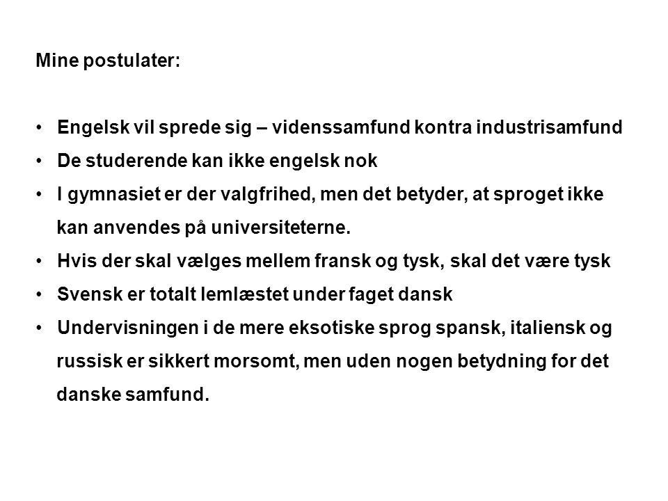 Mine postulater: Engelsk vil sprede sig – videnssamfund kontra industrisamfund. De studerende kan ikke engelsk nok.
