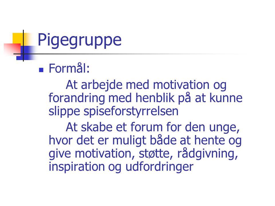 Pigegruppe Formål: At arbejde med motivation og forandring med henblik på at kunne slippe spiseforstyrrelsen.