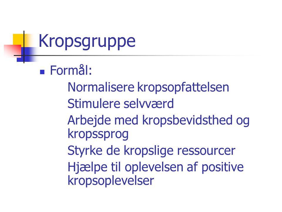 Kropsgruppe Formål: Normalisere kropsopfattelsen Stimulere selvværd
