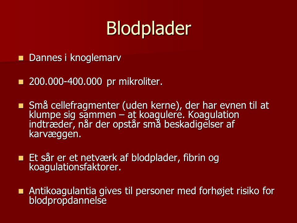 Blodplader Dannes i knoglemarv 200.000-400.000 pr mikroliter.