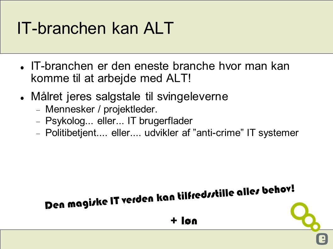 IT-branchen kan ALT IT-branchen er den eneste branche hvor man kan komme til at arbejde med ALT! Målret jeres salgstale til svingeleverne.