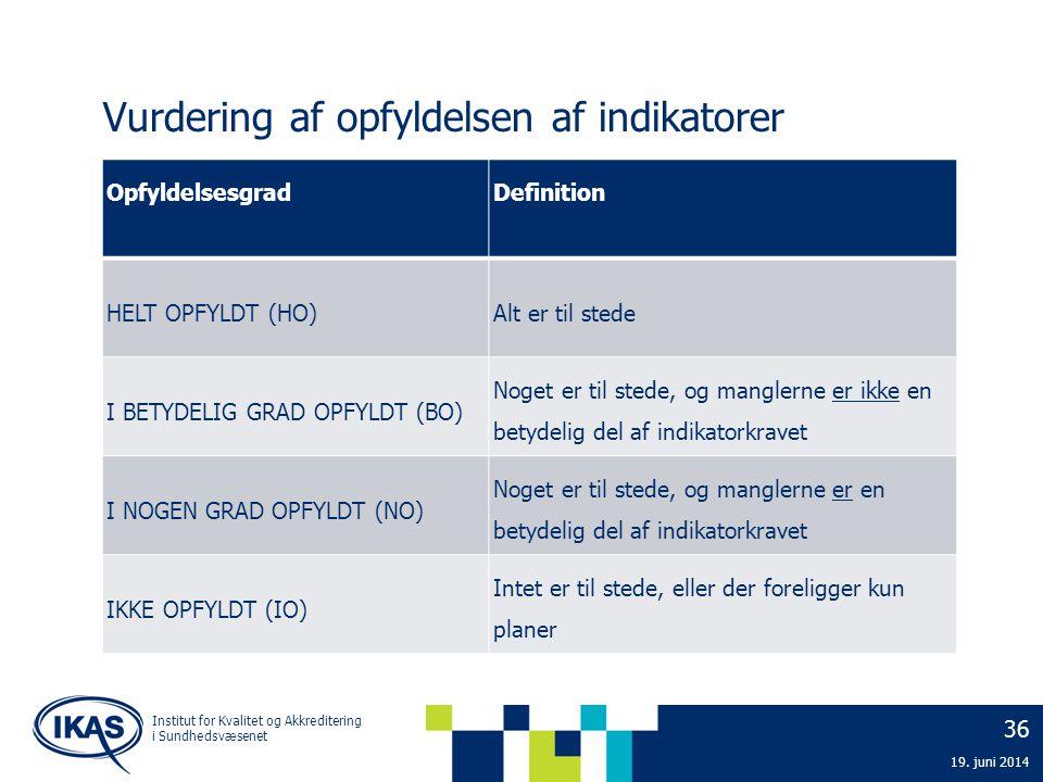 Vurdering af opfyldelsen af indikatorer